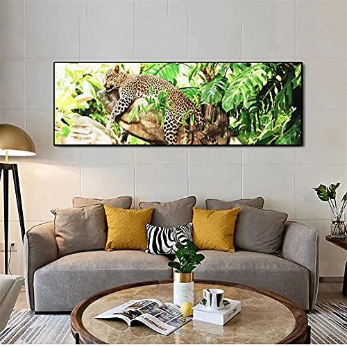 5D Diamond Painting kits Tamaño Grande, Leopardo de la selva DIY Completo Pintura de Diamantes grande Kit Rhinestone Bordado Punto de Cruz Lienzo Manualidades para Decor pared 40x120cm