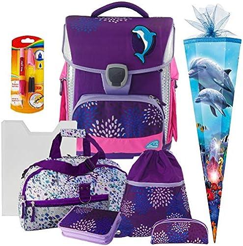 Delfin - Dolphin - Sprinkle - Schneiders LED-TOOLBAG Plus mit LED-LEUCHTSYSTEM - 78333-074 - Schul-Ranzen-Set 8teilig mit Schulsporttasche und Schultüte - FüLLER und HEFTBOX GRATIS