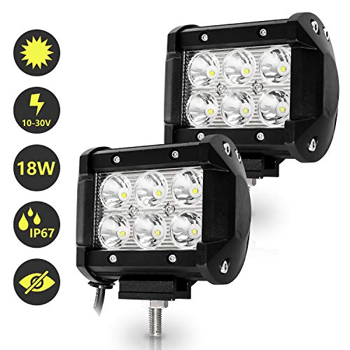 Hengda 2x 18W LED Arbeitsscheinwerfer 12V 24V Scheinwerfer Traktor Rückfahrscheinwerfer LED Strahler für Offroad, KFZ, SUV, LKW, Auto Zusatzscheinwerfer IP67 Wasserdicht, Quad