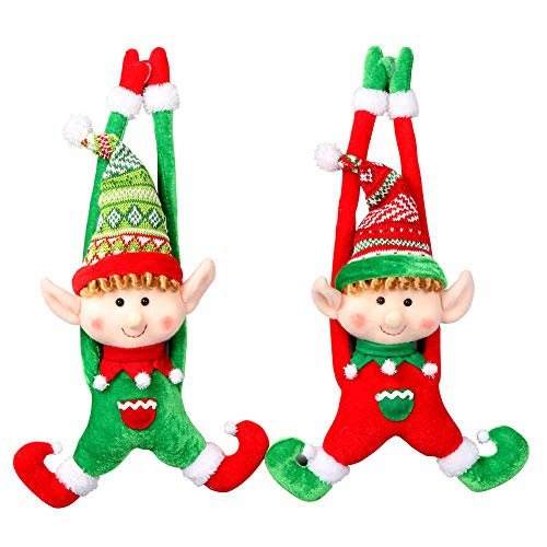 OurWarm PartyTalk 2pcs Plush Christmas Elves Toys 16' Adorable Boy and Girl Elf Doll Hanging Christmas Ornaments for Holiday Door Tree Decor Xmas Gifts