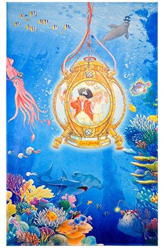 Capt'n Sharky Kinderteppich Weich und Soft, Teppich Tauchboot Unterwasser 100x160 cm in Rechteck Farbe Blau, Kinderzimmer Teppich Öko-Tex zertifiziert, Bildmotiv für Jungen