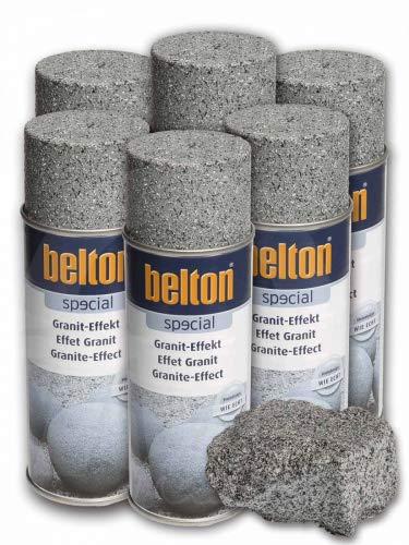 6 x Belton Granit-Effekt-Spray granit-grau
