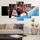 WWNMJ Bilder Vlies Leinwandbild 5 Teilig, Leinwand Malerei 5 Stück Hd Print Wohnzimmer Home Decoration Bild Spider-Man Avengers Suphero Wohnzimmer-Kunst Wanddekoration 150X80Cm