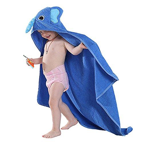 Serviette de bain bebe, Chickwin Cute Animal 100% coton naturel Wrap Gant de toilette doux pour bébé douche après bain Cuddle 'n sec, grand 90 * 90 cm Taille (Bleu)