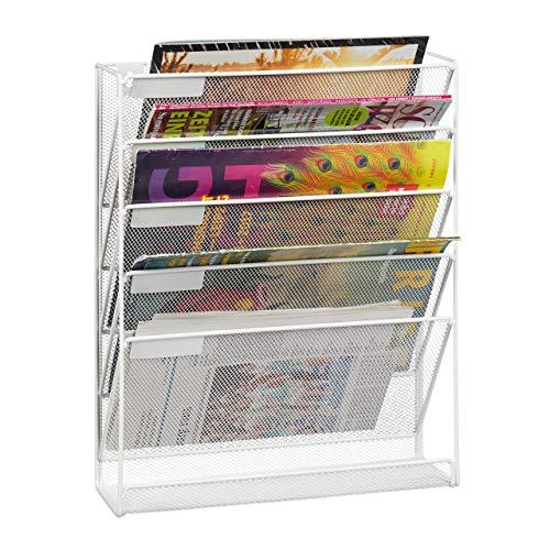 Relaxdays Zeitschriftenhalter Wand, A4-Querformat, 5 Fächer, Metall, Dokumentenablage HxBxT 40,5 x 32,5 x 10,5 cm, weiß, 1 Stück