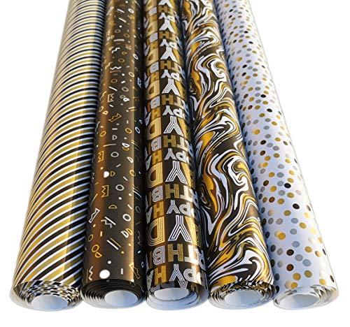 Geburtstag Geschenkpapier Set Schwarz Gold Edel - 5 Rollen 2m x 70cm Edle Geschenk Verpackung Party oder Hochzeiten, Geburtstage und Jubiläen