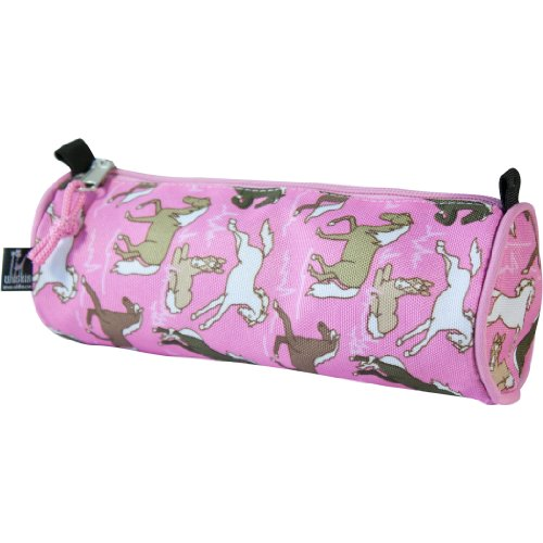 Wildkin Kids Zippered Pencil Case for Boys and Girls, Perfect for Packing School Supplies and Travel Essentials, 600-Denier Polyester Pencil Cases Measures 8 x 3 x 3 Inches, BPA-free (Horses in Pink)