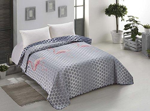 AmeliaHome 00431 Tagesdecke 170x210 cm stahl rosa Bettüberwurf zweiseitig Steppung leicht zu pflegen grau graphit anthrazit Flamingo