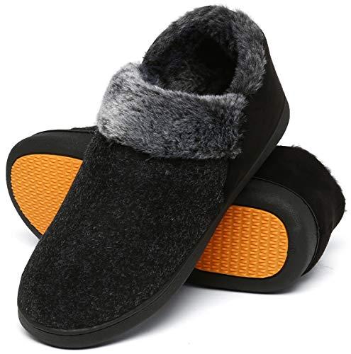 Mishansha Zapatillas de Casa Invierno Hombre Pantuflas Antideslizante Zapatos Espuma Viscoelástica con Cálido Forrado Negro Ahumado Gr.43