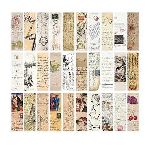 Lychii, segnalibri, stile vintage, 28 tipi di segnalibri di carta design retrò Set E.