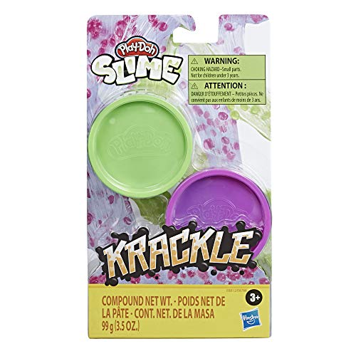 Play-Doh Krackle Slime Purple & Green 2 Pack of Slime Compound with Beads for Kids 3 Years & Up