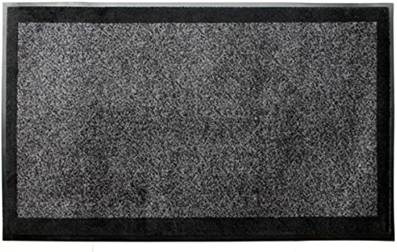 Carpeted Floor Mat - 3' x 5' - Graphite Grey w Decorative Black Border -Carpet Mat Pro - Extra Sturdy 80mil Rubber Backing