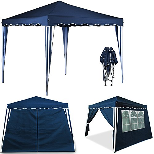 Deuba Pop Up Gazebo 3m x 3m with Sides And Carry Bag Waterproof Folding Garden Marquee Tent Awning Canopy Side Panels Blue