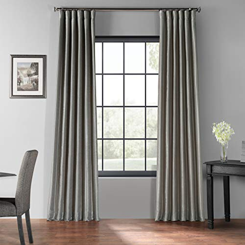 HPD Half Price Drapes PDCH-KBS9BO-84 Blackout Vintage Textured Faux Dupioni Curtain (1 Panel), 50 X 84, Silver