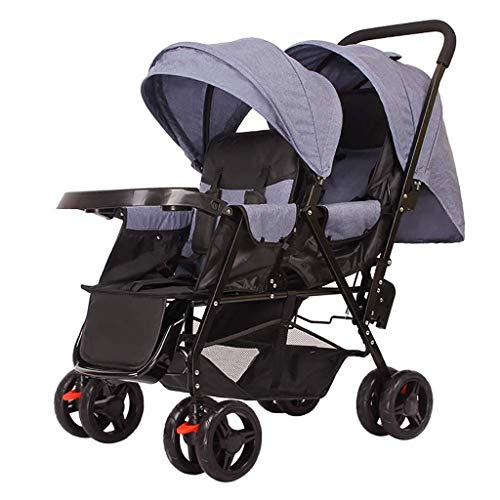 Affordable MOOLO Baby Stroller Double Infant Trolley, Twin Baby Stroller Lightweight Folding Two-Sea...