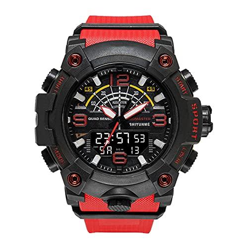 WNGJ Reloj Digital para Hombres, Reloj Militar Multifuncional, Relojes de cronómetro para Hombre Reloj Deportivo Militar cronómetro clásico Grande 50m de Relojes Digitale Red