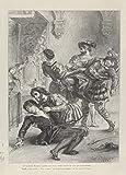 Eugene Delacroix 'La muerte de Hamlet', Francia, 1843, Reproducción 200 g/m² Shakespeare Classic Art Poster