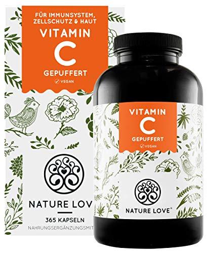 NATURE LOVE® Gepuffertes pflanzliches Vitamin C - Hochdosiert mit 1000mg Vitamin C je Tagesdosis - 365 Kapseln - pH-neutral & magenfreundlich - Vegan