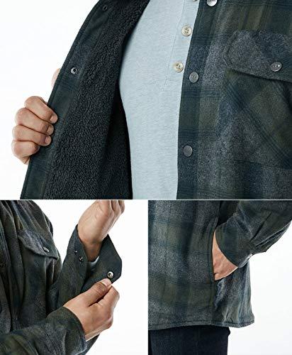 CQR Men's Sherpa Drawn Flannel Shirt Jacket, Soft Long Sleeve Rugged Plaid Button Up Jacket - Grey - XXXL