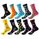 YU.Dafe【10-15 Days Fast Delivery】10 Pairs Fashion Funny Novelty Fruit Print Cotton Crew Socks, Casual Stretch Knit Warm Ankle Socks for Women and Men