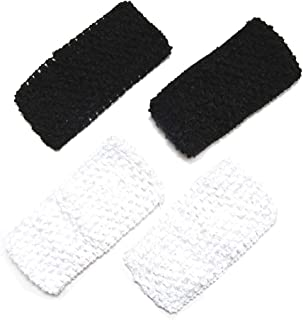 Luxxii 4 Pack - Black and White Elastic Cotton Facial Spa Headband Make Up Wash Face Cosmetic Headband Spa Bath Hair Band Accessories