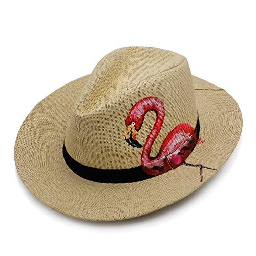 c-pop Unisex - Erwachsene Straw Panamahut Sun Block UVbeweis Sonnenhut Reise Strand Meer Cap Handzeichnung Panama-Hüte und 22inch Flamingo
