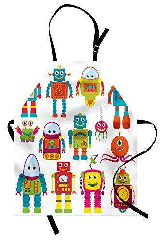 Lunarable Outer Space Apron, Robot Drawing with Cartoon Future Toys with Smiling Faces Aliens Fun Games, Unisex Kitchen Bib with Adjustable Neck for Cooking Gardening, Adult Size, Teal Red