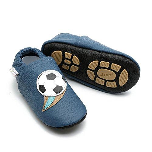 Liya's Hauschuhe mit Gummisohle - #658 Fussball in blau