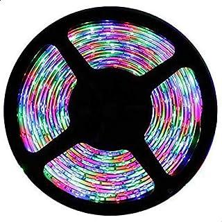 شريط لمبات ليد متعدد الألوان بطول 5 متر شامل الريموت والمحول الكهربائي