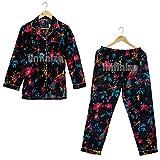 iinfinize Ropa suelta señoras traje de noche desgaste noche batas de algodón india pijama vestido de algodón impreso a mano floral ropa de dormir algodón conjunto tamaño XXL