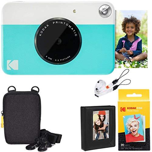 KODAK: Paquete cámara instantánea Printomatic (Azul) + Papel Zink (20 Hojas) +...