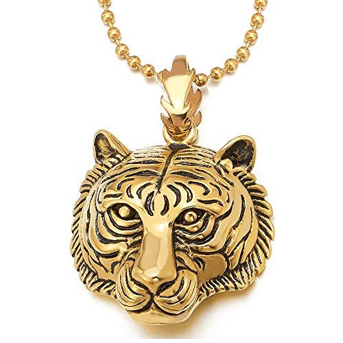 COOLSTEELANDBEYOND Edelstahl Gold Tiger Kopf Anhänger Herren Damen Halskette mit 75cm Stahl Kugelkette