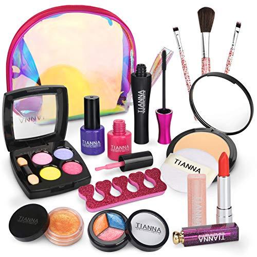 Dreamon Kit de Maquillaje Niñas, Cosméticos Lavables Esmalte de Uñas No Tóxico con Cosmética del Brillo Bolsa Niña de 5 años