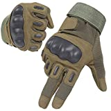 HIKEMAN Army Tactical Gloves Full Finger and Half Finger Military Rubber Hard Knuckle Gloves for Motorcycle Cycling Shooting Hiking Camping (Full Finger Army Green, Medium)