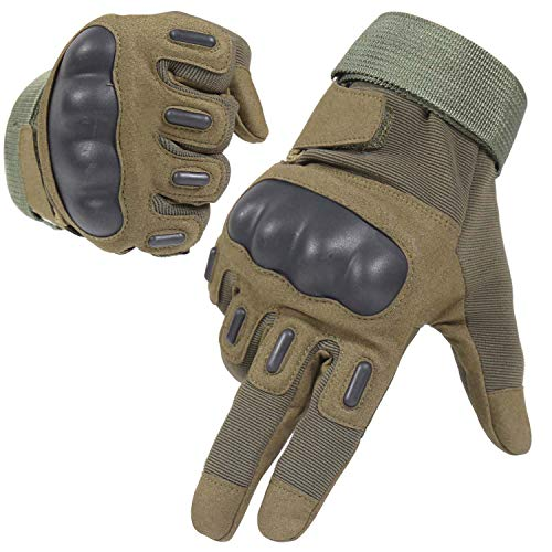 HIKEMAN Army Tactical Gloves Full Finger and Half Finger Military Rubber Hard Knuckle Gloves for Motorcycle Cycling Shooting Hiking Camping (Full Finger Army Green, Large)