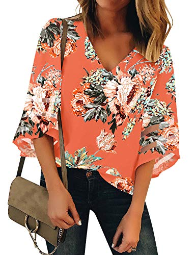 LookbookStore Women's V Neck Floral Printed Mesh Patchwork Blouse 3/4 Bell Sleeve Loose Summer Top Shirt Salmon Size Medium