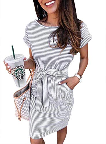 PRETTYGARDEN Ladies Basic Crewneck Belted Office Dress with Pockets Solid Color Sexy Short Sleeve Party Slim Dress Gray