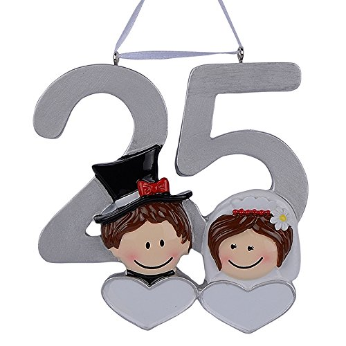 MAXORA 25th Anniversary Christmas Personalized Ornament Handmade Customized Couple's Silver Jubilee
