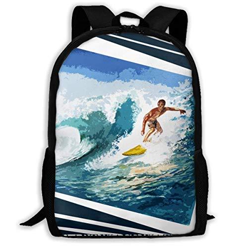 Lawenp Surfing Lover Wave Acuarela Tabla de Surf Estilo Deportivo Adulto Unisex Mochila Bodyboard, películas de Surf