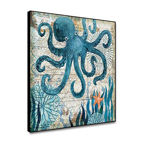 Musemailer Framed Canvas Prints Wall Art 12'x12' Blue Octopus Vintage Painting Abstract Compass Map Sea Grass Marine Animal Canvas Printed Picture for Wall Decor Living Room Dining Room Bedroom