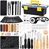 64Pcs Leather Working Tools Kit, Leather Craft Kits, Hand Leather Tool Kit with Instructions, Quality Toolbox, Rotary Cutter, Waxed Thread, Tracing Wheel, and Other Leather Working Supplies