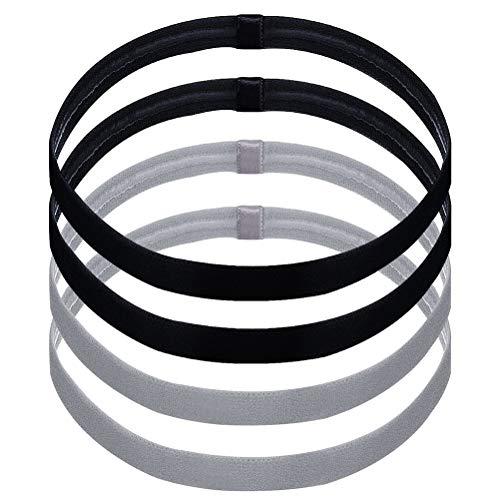 Nuosen 4 Stück unisex Anti-Rutsch Haarband/Kopfband, Sport Thin Stirnbänder für Damen und Herren (Schwarz und Grau)
