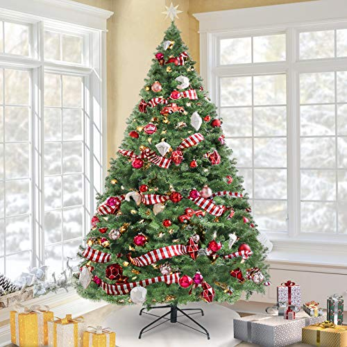 KingSo 7.5ft Christmas Tree Premium Spruce Hinged Artificial Full Tree with Solid Metal Foldable Stand, 1300 Tips