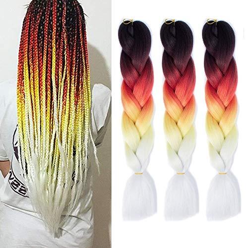Crochet Braids Ombre Jumbo Braiding Hair Extensions Synthetic Yaki Straight 3pcs/lot 4 Tone (Black Dark Orange Yellow White)