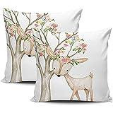 Pamela Hill Dekokissenbezüge Boho Woodland Floral Deer Baby Mädchen Kinderzimmer weiß rosa und...