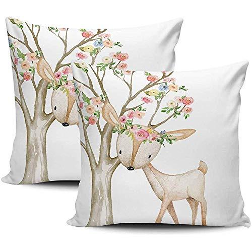 Pamela Hill Dekokissenbezüge Boho Woodland Floral Deer Baby Mädchen Kinderzimmer weiß rosa und grün Kissenbezüge Square Two Sides Print 2er-Set