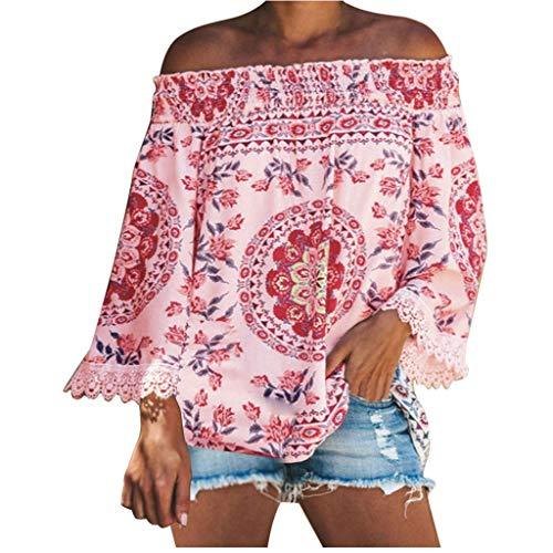 Damen Sommer T-Shirt V Ausschnitt Schulterfrei Kurzarm Frauen Sexy Vintage Bedruckt Stretch Jahrgang Weste Yoga Tee Hemden Große Lose Quaste Bluse Tops (EU:38, Rosa)