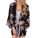 YONHEE - Cárdigan kimono floral para mujer, chal suelto, estilo bohemio, casual, para verano, para mujer Negro-a L