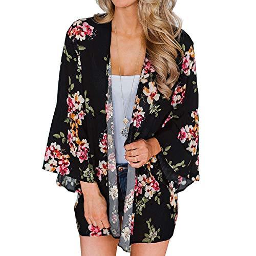 Kimono Cardigan Mjuer - Cardigan Floral Mujer, Camisolas y Pareos Pareo Playa Chal Kimono Cover Up Manga 3/4 Loose Floral (Negra, L)