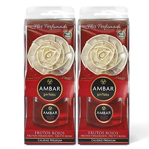 Ambar Perfums Flor Ambientador Difusora, Frutos Rojos, 75 ml